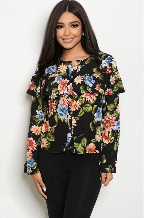 10241 RUFFLE FLORAL TOP