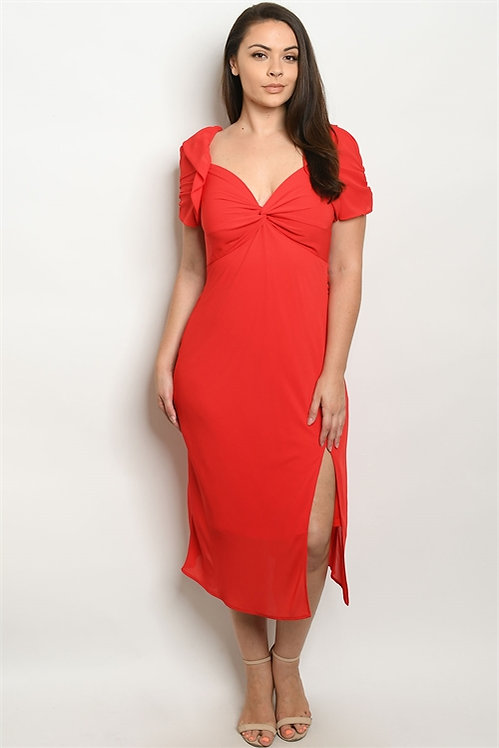 32595X RED PLUS SIZE DRESS