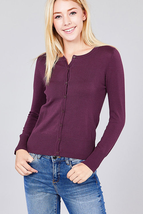 8383 BUTTON UP CREW NECK CARDIGAN SWEATER