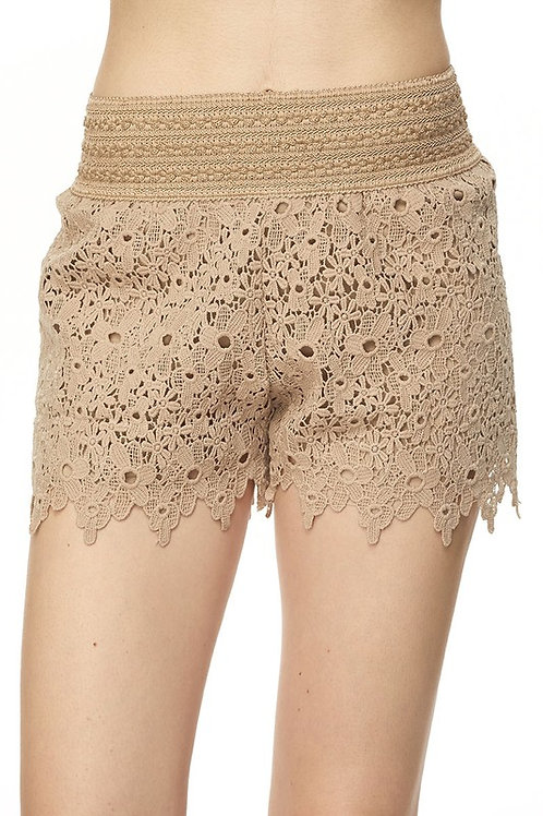 SH06 Floral Lace Crochet Banded Shorts