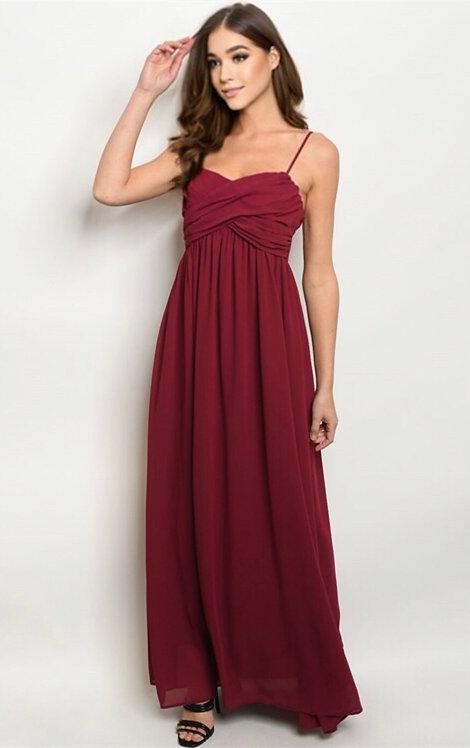 22588 BURGUNDY DRESS