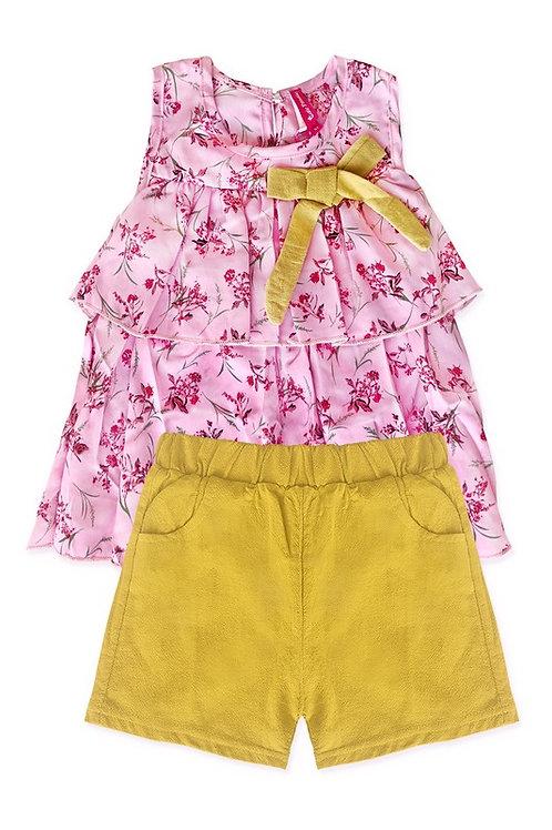 3722 Two piece ruffle top short pink/mustard set