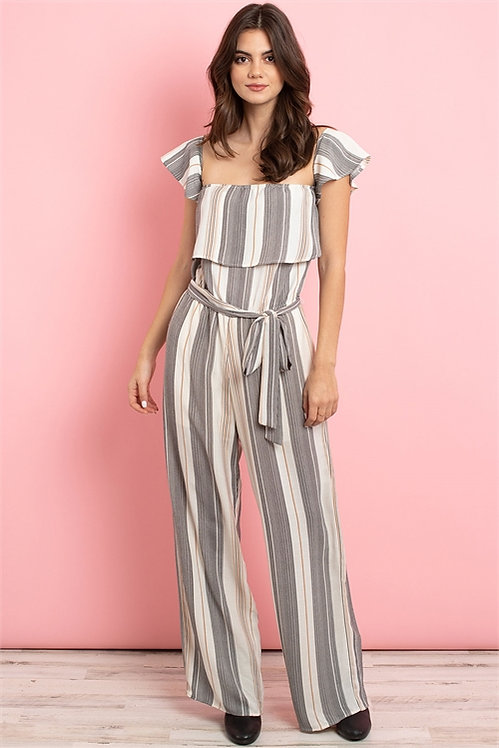 3139 striped ruffle jumpsuit