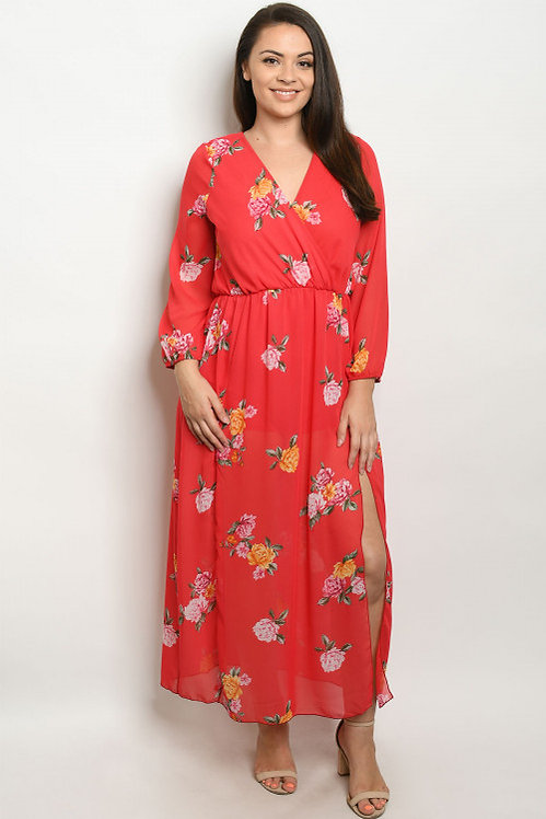 550P15 RED FLORAL PLUS SIZE DRESS