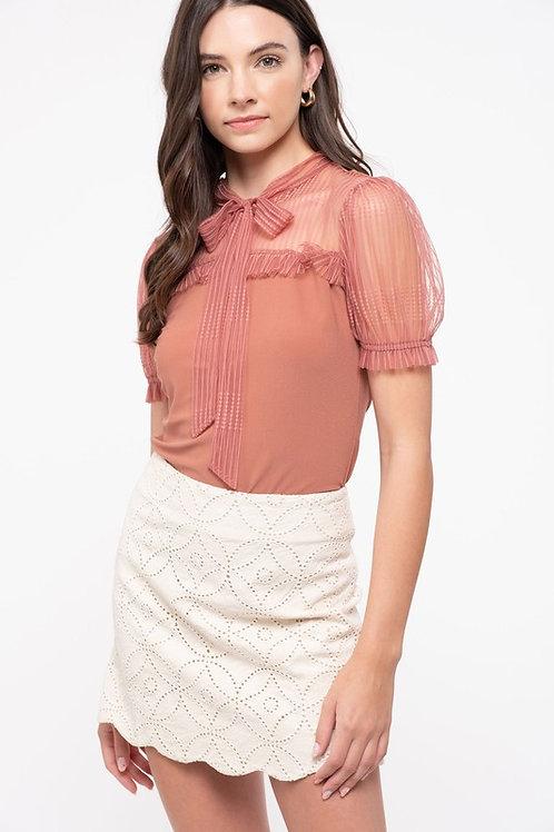 5553 Sheer lace yoke and short sleeves