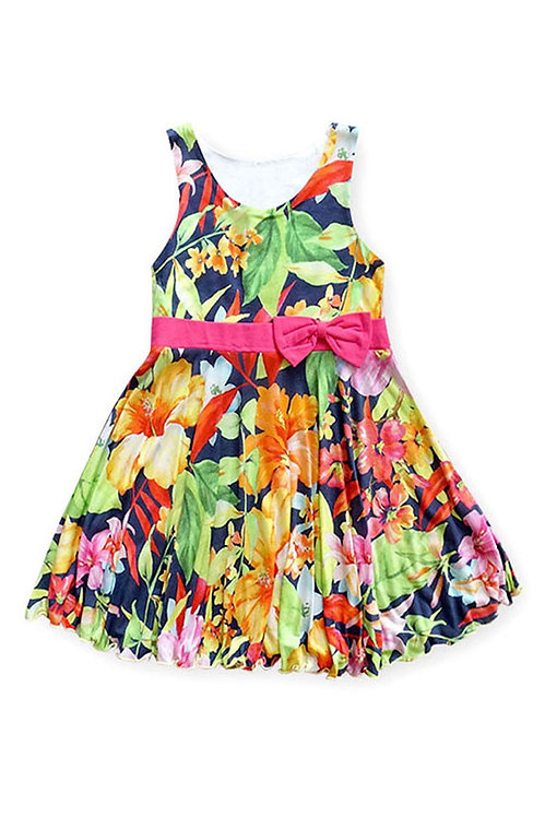 3721-16 Floral Spring Dress with Bowknot Waistband