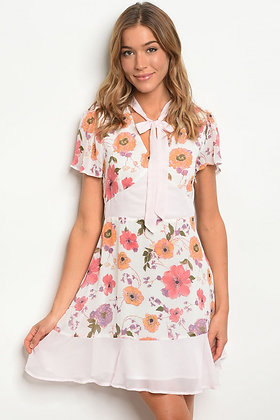 62449 OFF WHITE FLORAL DRESS