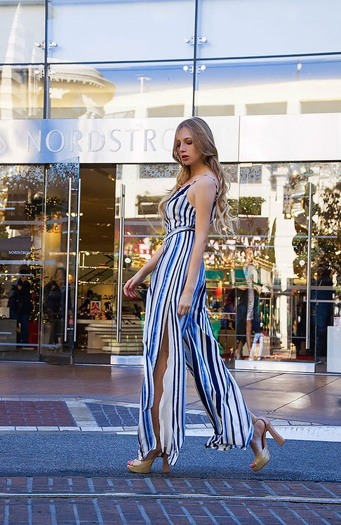 7220 Cypress Side Tie Jumpsuit In Navy Stripe