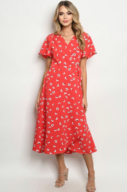 90496 RED WITH FLOWER PRINT DRESS