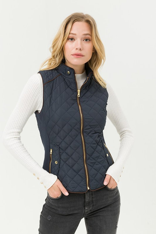 8853 Quilted Padding Front Zip Up Pocket Vest