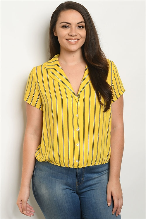 10102X YELLOW STRIPES PLUS SIZE TOP