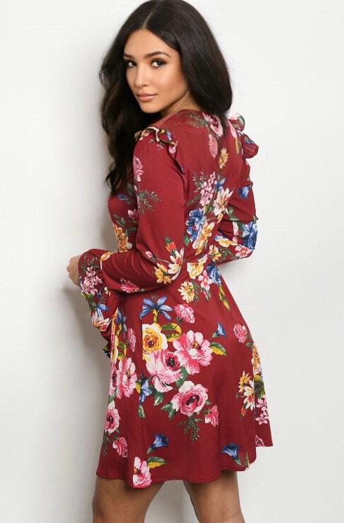 354 BURGUNDY FLORAL DRESS