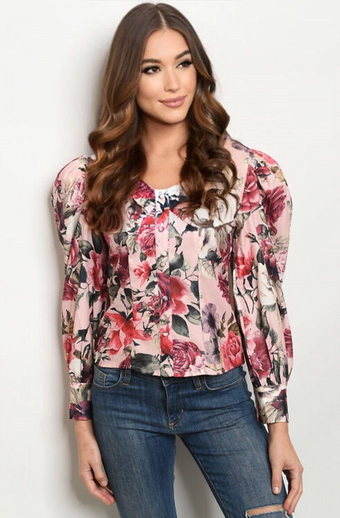 2764 PINK WITH FLOWER PRINT TOP