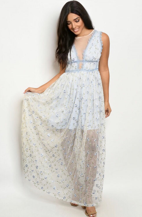 73029 BLUE WITH FLOWER EMBROIDERY DRESS