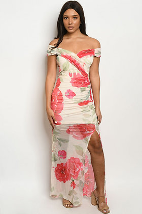 17785 CREAM RED FLORAL DRESS