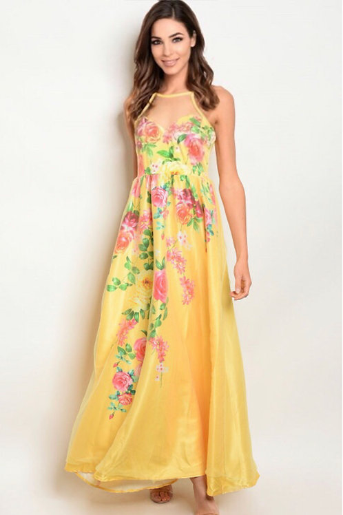 06252 YELLOW FLORAL DRESS