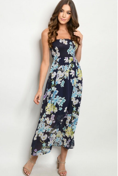 12267 NAVY FLORAL DRESS