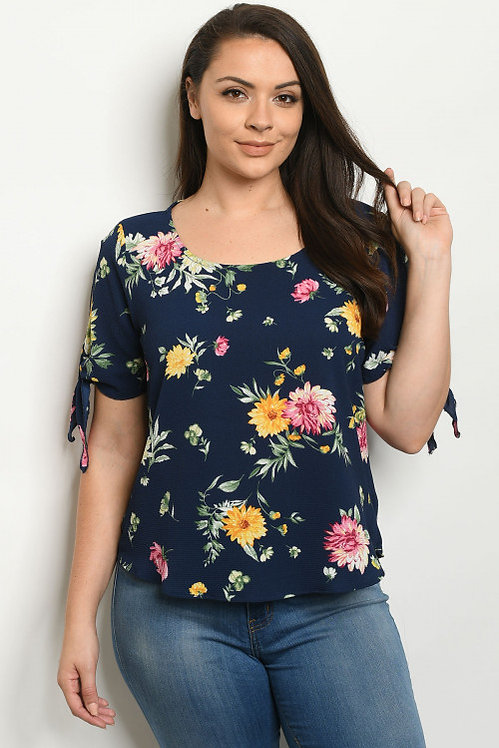 2379X NAVY WITH FLOWER PRINT PLUS SIZE TOP