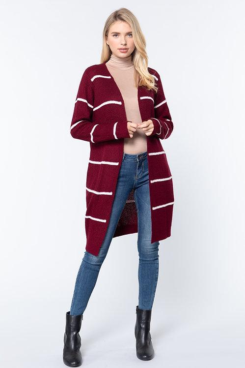 11959 striped open sweater