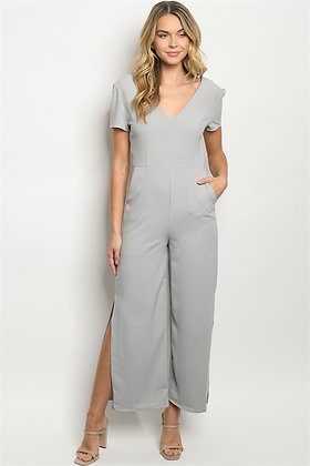 90350 GRAY STRIPES JUMPSUIT