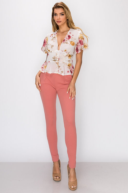 425 FLOWER PRINT BUTTON DOWN TOP