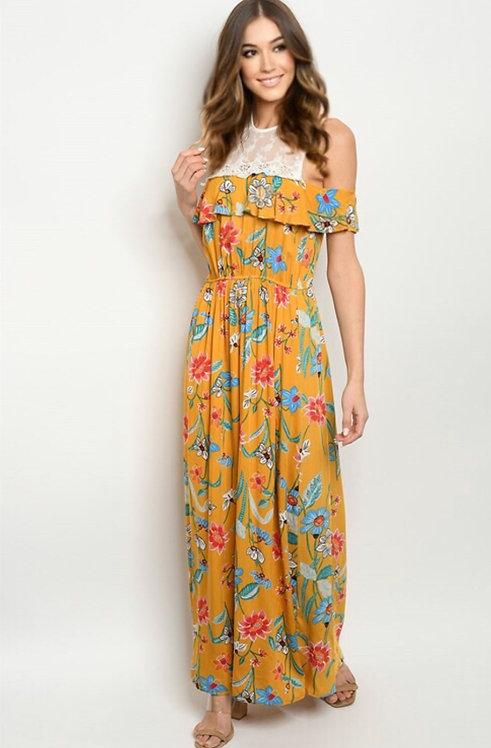 005 MUSTARD FLORAL DRESS