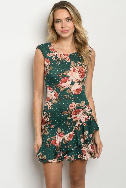 8440 GREEN FLORAL DRESS