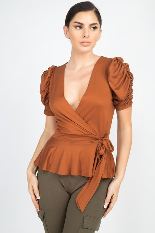 55164 Front Wrap Ruched Sleeve Top