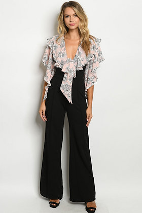 5482 PINK BLACK WITH FLOWER JUMPSUIT