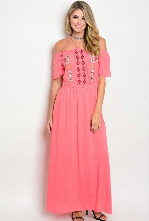 15003 CORAL EMBORIDERY DRESS