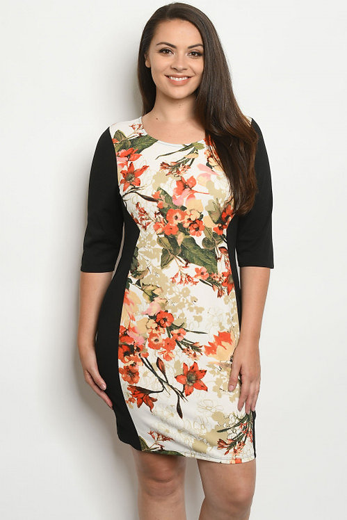 579X BLACK IVORY FLORAL PLUS SIZE DRESS