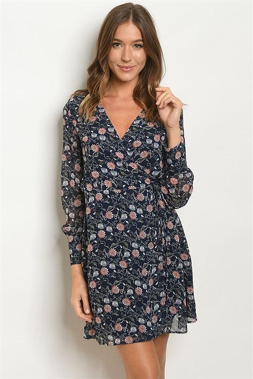 5480 NAVY FLORAL DRESS