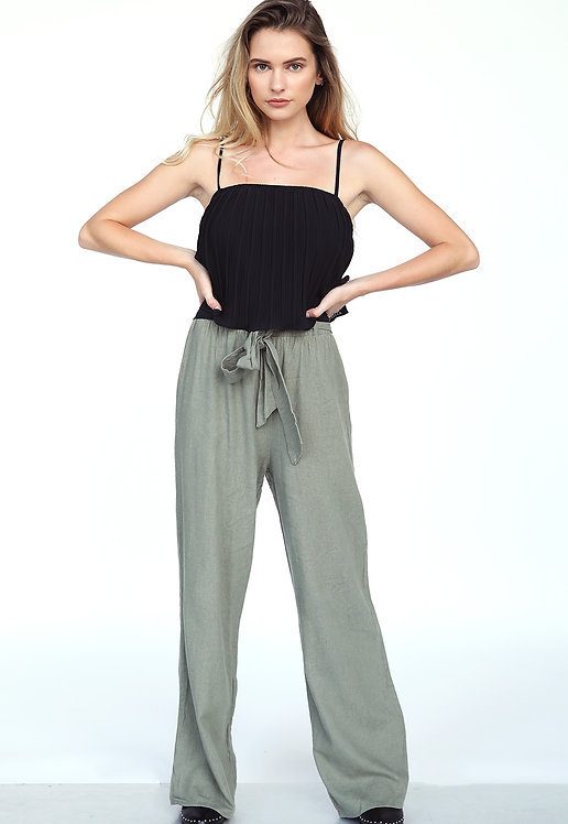 71146-LINEN TIE-FRONT HIGH WAIST WOVEN PULL- ON PALAZZO PANTS