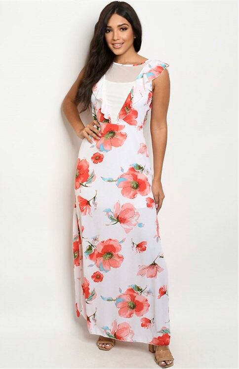 5065 IVORY PEACH FLORAL DRESS