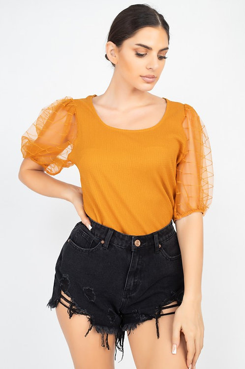 55316 Round Neck Puffed-Sleeve Top