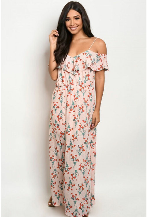 8795 PEACH W/ FLOWERS PRINT DRESS