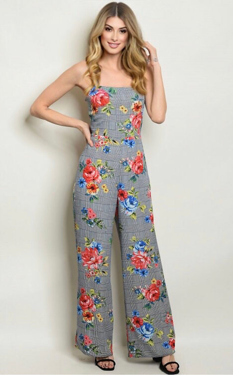 170456 NAVY CHECKERED FLORAL JUMPSUIT