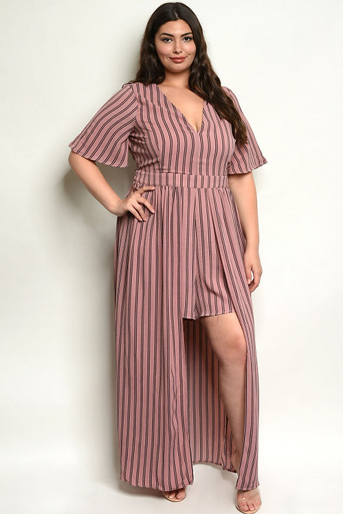 10041X MAUVE STRIPES PLUS SIZE ROMPER