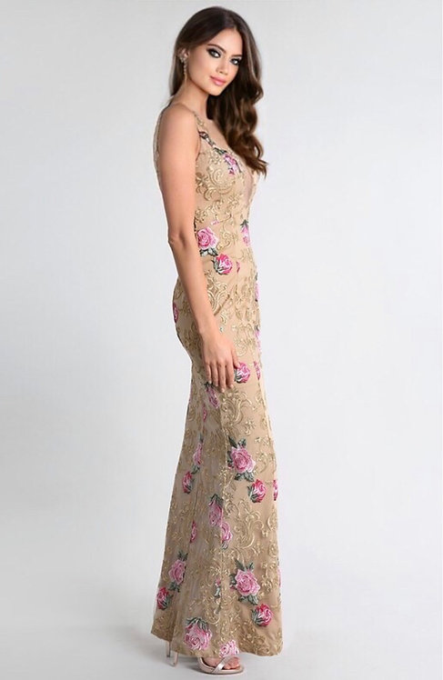24223 TAUPE WITH FLOWER EMBROIDERY DRESS