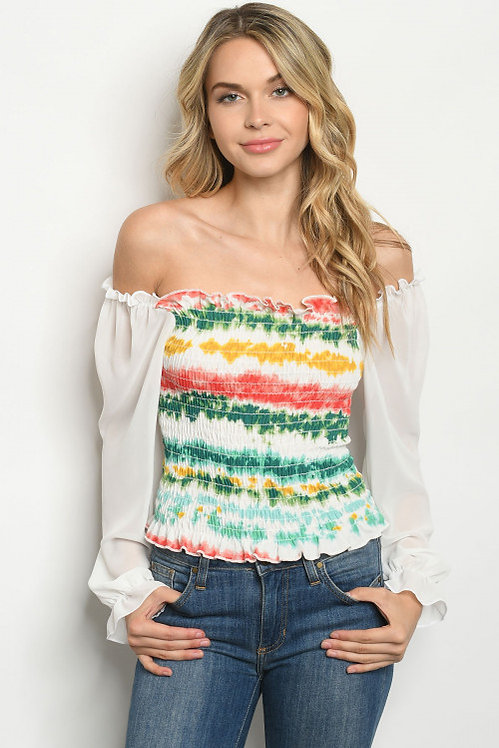 3265 WHITE GREEN TIE DYE TOP