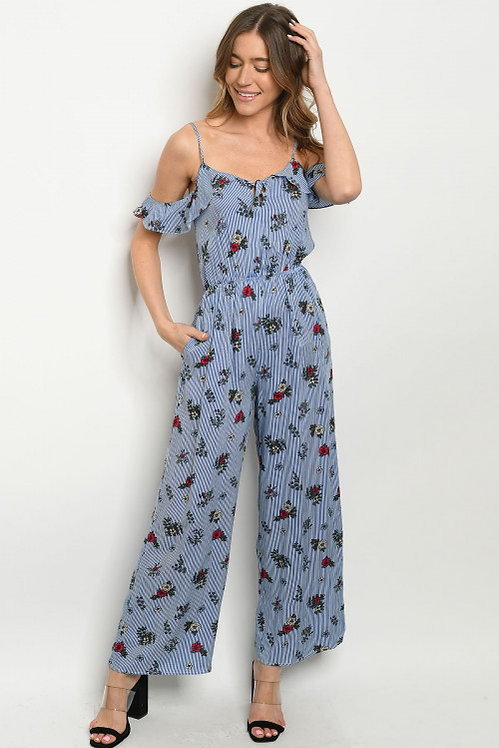 3710 BLUE STRIPES FLORAL JUMPSUIT