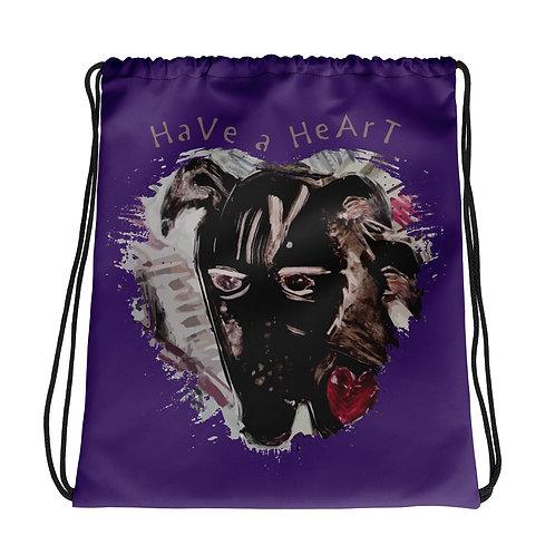 Save Animals / 2 N 1 / Drawstring Bag/ Purple