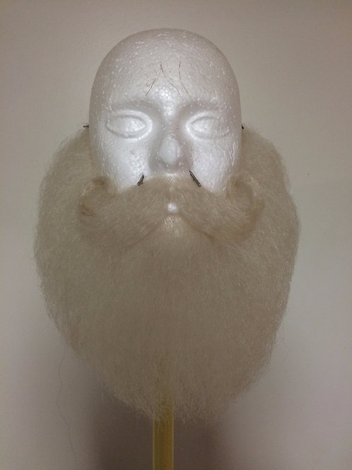 LONG SANTA BEARD SET - human hair beard, mustache, eye brows, and synethic wig.