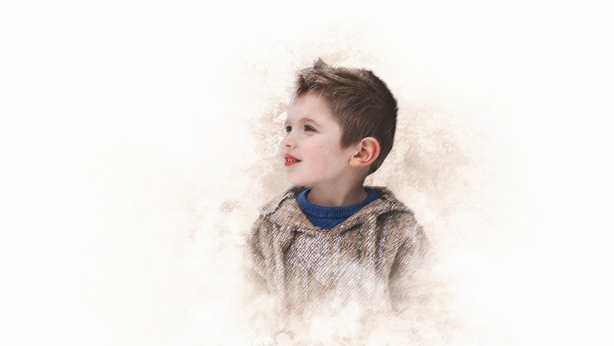 watercolour painting of young boy