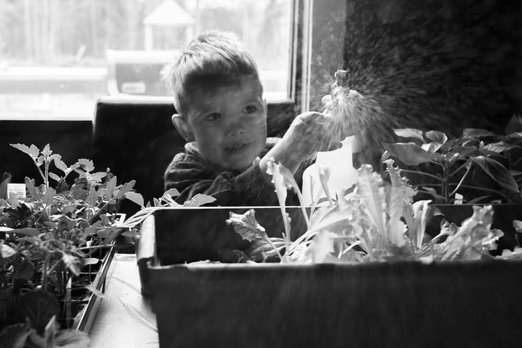 boy waters plants autism