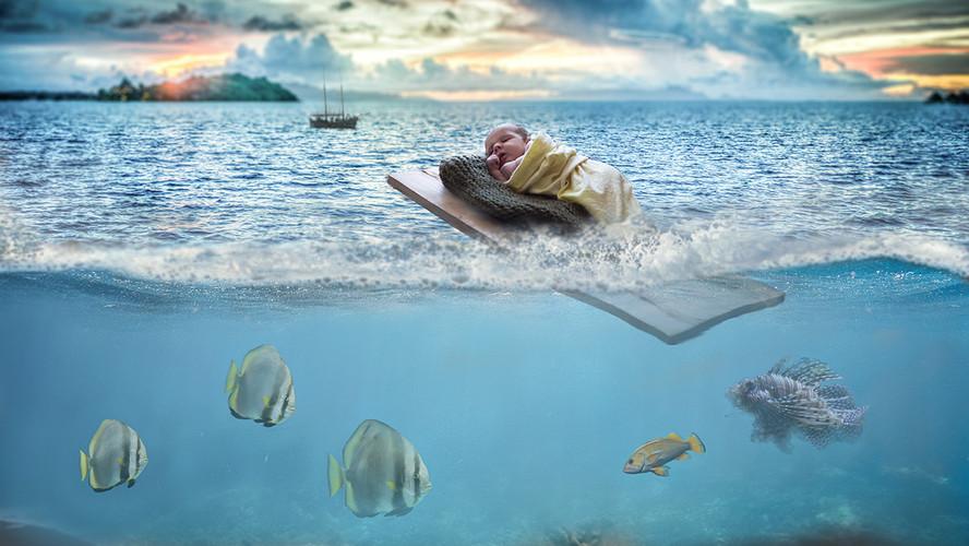 newborn ocean digital painting