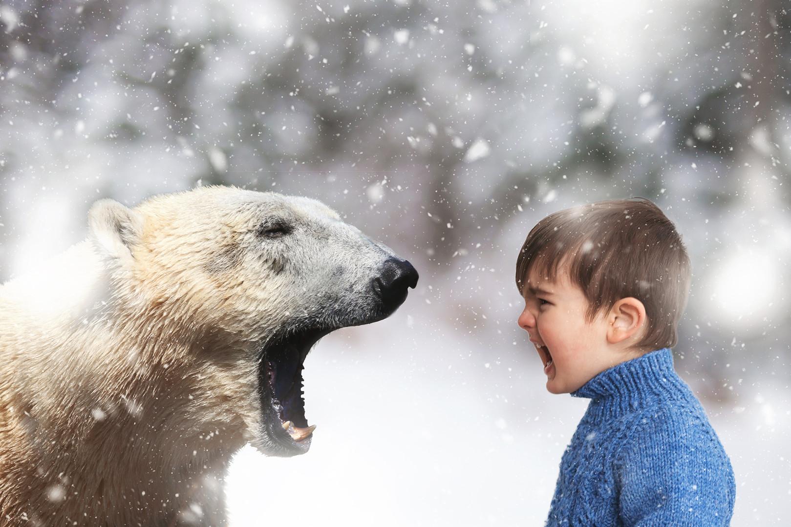 boy screams with polar bear