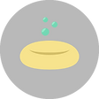 A soap bar icon on light grey background