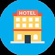 Hotel icon on blue background