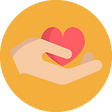 Hand with heart on yellow background